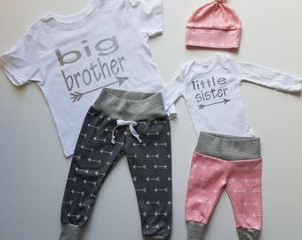 Baby Girl Coming Home Outfit. Matching Sibling Set. Big Brother Little Sister. Newborn Girl Coming Home Outfit. Gray Arrow. Pink Arrow.