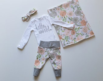 Personalized (optional) Baby Girl Coming Home Outfit. Newborn Girl Coming Home Outfit. Sip and See Outfit. Peachy Pink Floral. Swaddle.