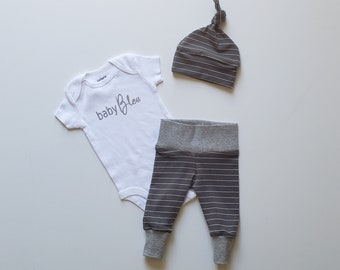 Baby Boy Newborn Take Home Outfit. Personalized Baby Boy Coming Home Outfit. baby (add first or last name). Charcoal White Stripe