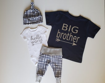 Baby Boy Newborn Take Home Outfit. Big Brother T Shirt Navy. Baby Boy Coming Home Outfit. Matching Brother Outfit. hello world. Navy Grid.