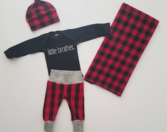 Baby Boy Coming Home Outfit. Newborn Boy Coming Home Outfit. Boy Coming Home Outfit. Buffalo Plaid Coming Home Outfit Boy. Little Brother.