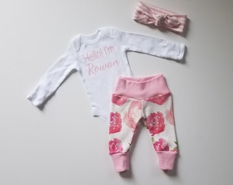 Personalized Baby Girl Coming Home Outfit. Personalized Newborn Girl Coming Home Outfit. Girl Coming Home Outfit. Roses. Hello! I'm _____.