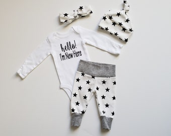 Gender Surprise Coming Home Outfit. Baby Boy Baby Girl Coming Home Outfit. Gender Neutral Baby Coming Home Outfit. Hello! I'm New Here.