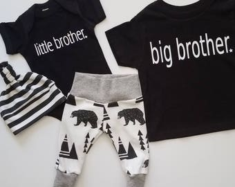 6956c17c92458 Baby Boy Newborn Take Home Outfit. Big Brother T. Little Brother. Bears and  Tipis. Bring Home Baby Outfit. Boy Coming Home Outfit.