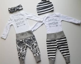 Baby Girl Coming Home Outfits. Baby Boy Coming Home Outfit. Twins Newborn Coming Home Outfits. Black and White Stripe & Rose.