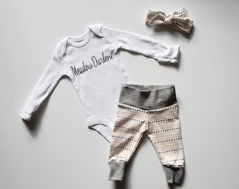 Personalized Baby Girl Coming Home Outfit. Newborn Girl Coming Home Outfit. Personalized Onesie Bodysuit. Fresh 48 Outfit