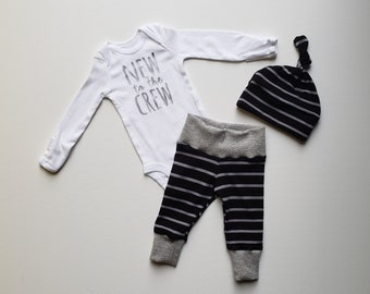 New to the Crew Baby Boy Coming Home Outfit. Newborn Boy Coming Home Outfit. Newborn Boy Coming Home Outfit Boy. Black Grey Stripe.