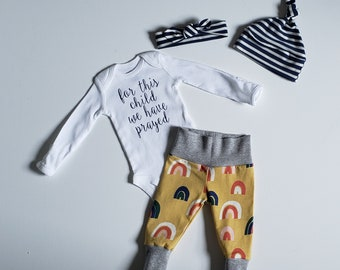 Gender Surprise Coming Home Outfit. Baby Boy Baby Girl Coming Home Outfit. Rainbow Baby Coming Home Outfit. For this child we have prayed.