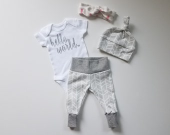 a35424d6b Gender Neutral Baby Coming Home Outfit. Hello World. Gender Neutral Baby  Take Home Baby Outfit. Gender Reveal Outfit.