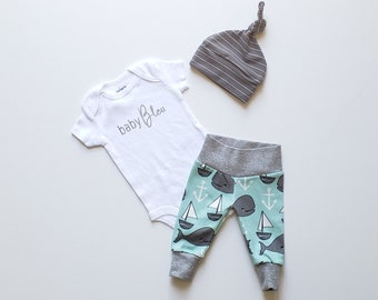 Baby Boy Newborn Take Home Outfit. Personalized Baby Boy Coming Home Outfit. baby (add first or last name). Charcoal White Stripe. Whale.