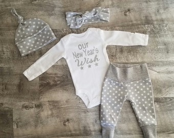 New Year's Baby. Coming Home Newborn Outfit Gift. Stars. Our New Year's Wish Onesie. Baby's First New Years.