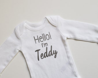Hello I'm _______ Personalized Baby Boy Bodysuit. Personalized Baby Girl Onesie Bodysuit. Name Reveal Onesie. Pregnancy Anouncement Onesie.