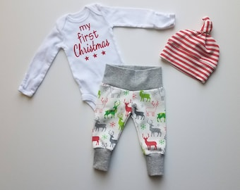 Christmas Newborn Boy Take Home Outfit. Reindeer. Snowflakes. Stars.  Leggings. Cheistmas Baby Outfit. My First Christmas Personalized