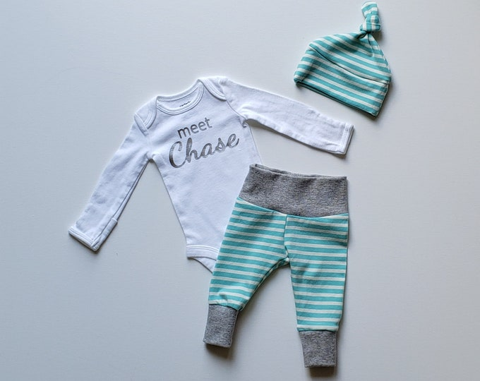 Featured listing image: Personalized Baby Boy Coming Home Outfit. Personalized Coming Home Outfit Boy. meet (insert name) Aqua Stripe.
