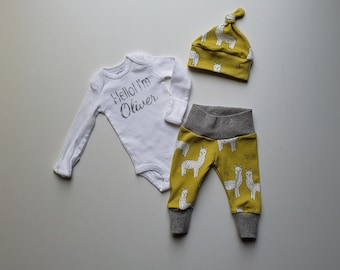 Hello I'm _______ Personalized Baby Boy Coming Home Outfit. Newborn Boy Coming Home Outfit. Name Reveal Baby. Mustard. Llamas. Alpacas.