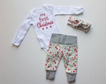 Baby Girl Christmas Newborn Personalized Coming Home Outfit. Baby Girl Christmas Coming Home Outfit. Christmas Berries. My First Christmas.