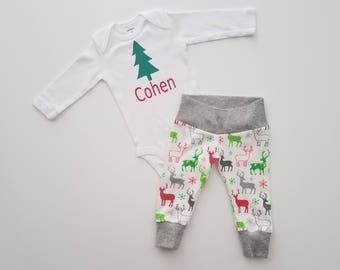 Christmas Newborn Personalized Coming Home Outfit. Baby Boy Christmas Outfit. Personalized Baby Christmas Outfit. Reindeer.