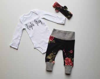 Baby Girl Coming Home Outfit. Baby Girl Personalized Coming Home Outfit. Baby Girl Take Home Outfit. Newborn Girl Sip See Outfit. Black Rose