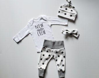 Personalized Gender Neutral Personalized Coming Home Outfit. Gender Neutral Baby Gift Set. Fresh 48 Outfit. New to the (last name) Crew.