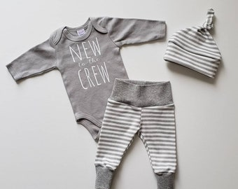 New to the Crew. Baby Boy Coming Home Outfit. Newborn Boy Coming Home Outfit. Baby Boy Photo Prop Outfit. Gray White Stripe. Gray Bodysuit.