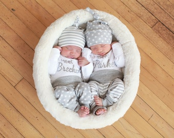 Two Personalized Bring Home Outfits. Meet (insert babies name) Stars & Stripes.  Leggings. Top Knot Hats. Coming Home Baby  Matching Set.