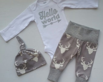 Baby Boy Newborn Take Home Outfit. Hello World Star. Arrow. Deer Head. Bring Home Baby Outfit Gift Set. Boy Coming Home Outfit.