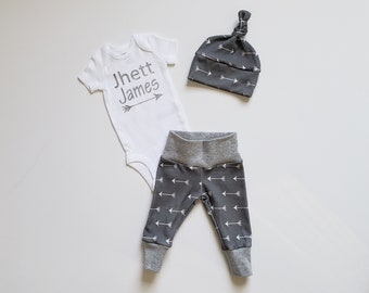 Personalized Baby Boy Coming Home Outfit. Newborn Boy Coming Home Outfit. Boy Coming Home Outfit. Short or Long Sleeve. Gray Arrow.
