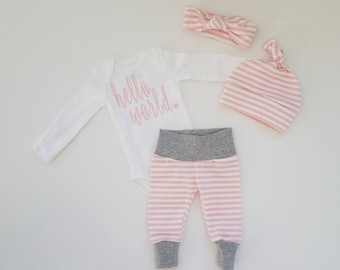 Baby Girl Coming Home Outfit. Newborn Girl Coming Home Outfit. Girl Sip and See Outfit. Hello World Pink.  Pink Stripe.