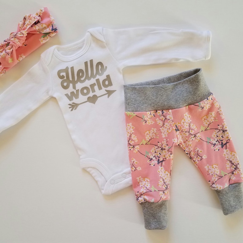 Newborn Girl Coming Home Outfit Baby Girl Coming Home Outfit Coming Home Outfit Girl Sip and See Pink Floral. Girl Coming Home Outfit