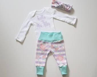 Personalized Baby Girl Coming Home Outfit. Personalized Newborn Girl Coming Home Outfit. Girl Coming Home Outfit. Sip and See Floral Stripe.