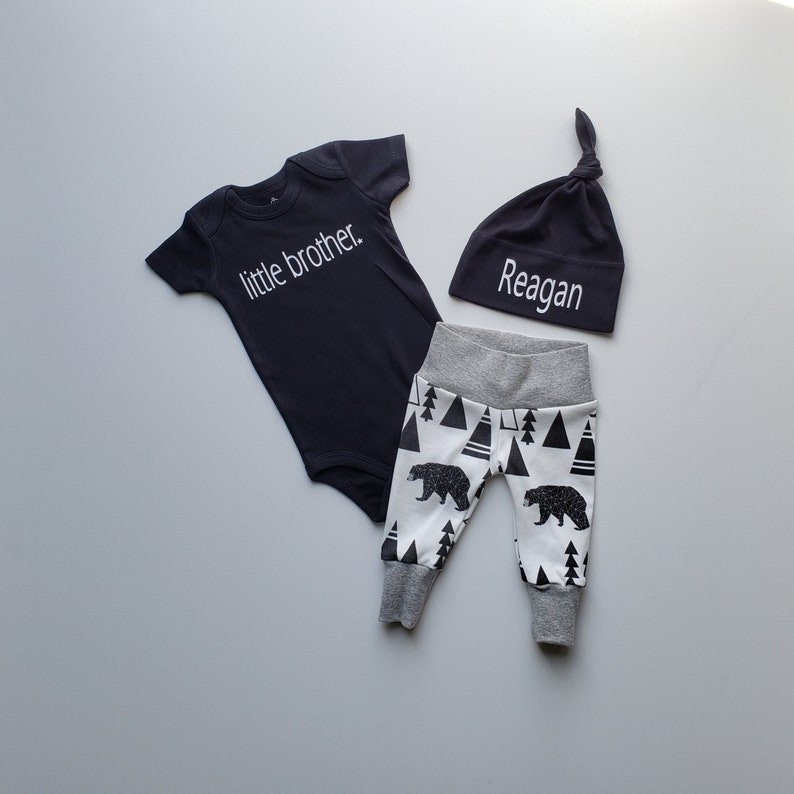 Personalized Baby Boy Coming Home Outfit Little Brother Onesie Name on Hat Bear Tipi. Newborn Boy Coming Home Outfit