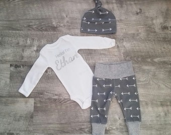 Personalized Baby Boy Coming Home Outfit. Personalized Newborn Boy Coming Home Outfit. Personalized Boy Coming Home Outfit.  Gray Arrows.
