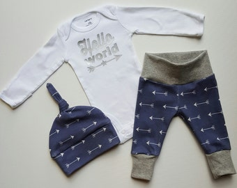 Baby Boy Coming Home Outfit. Newborn Boy Coming Home Outfit. Baby Boy Sip and See Outfit. Hello World. Midnight Arrow.