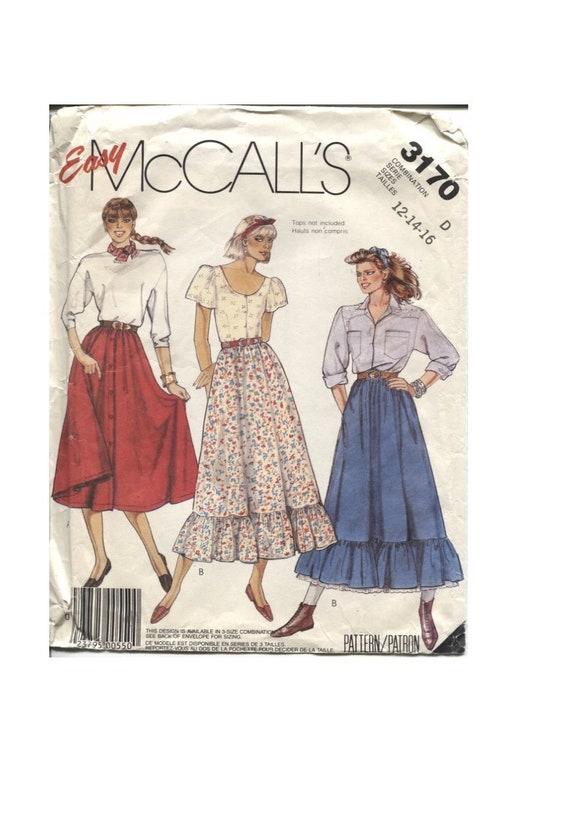 Full Skirt Pattern Size 40 40 40 Button Front Or Ruffle Etsy Inspiration Full Skirt Pattern