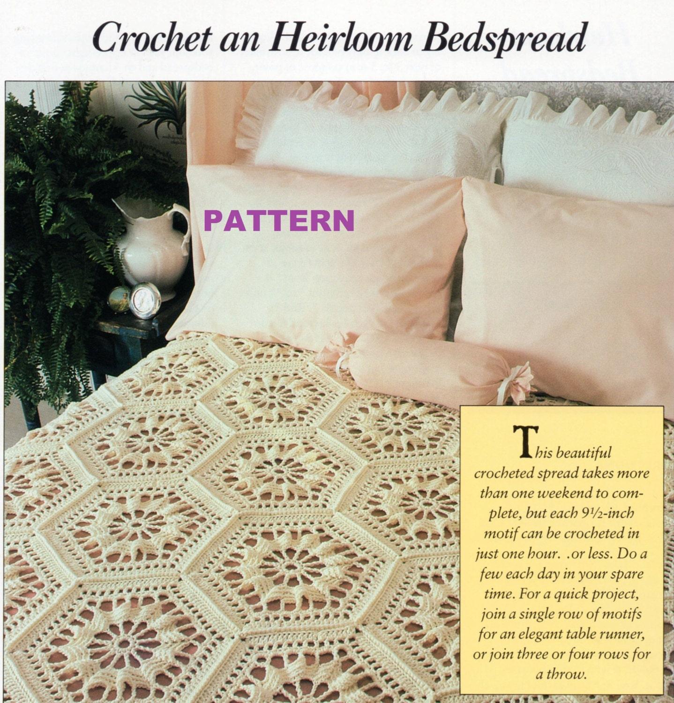 Crochet Bedspread Pattern Afghan Table Runner Throw Granny Etsy