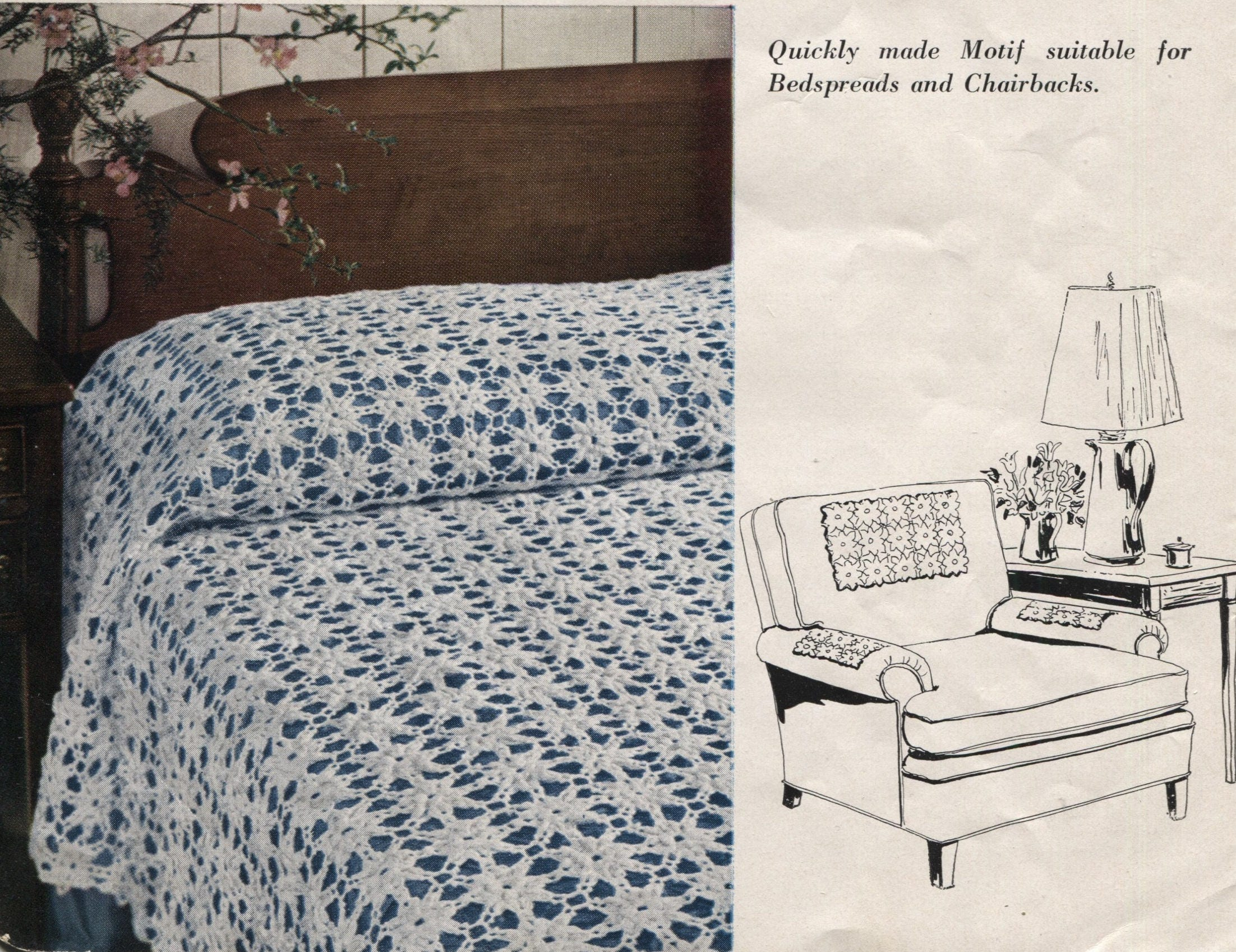 Bedspread Or Tablecloth Crochet Pattern Scarfs And Chair Etsy