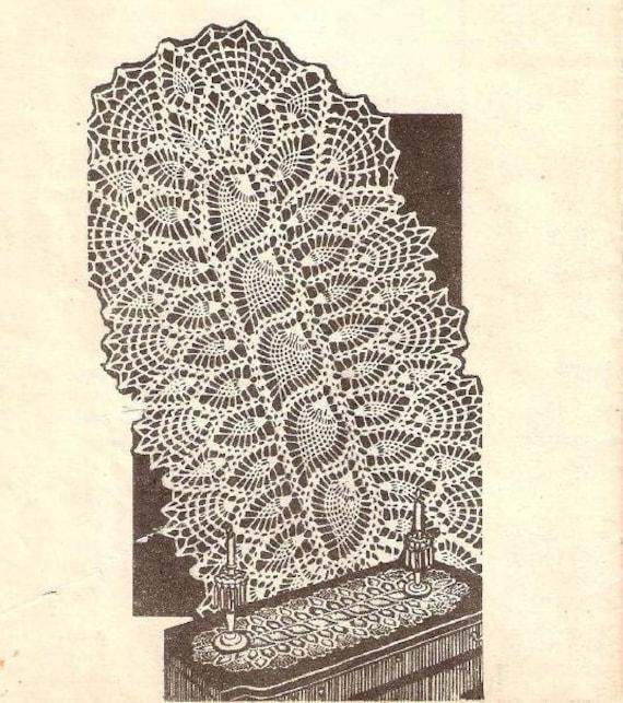 Oval Doily Pineapple Crochet Table Topper Designs Runner Etsy