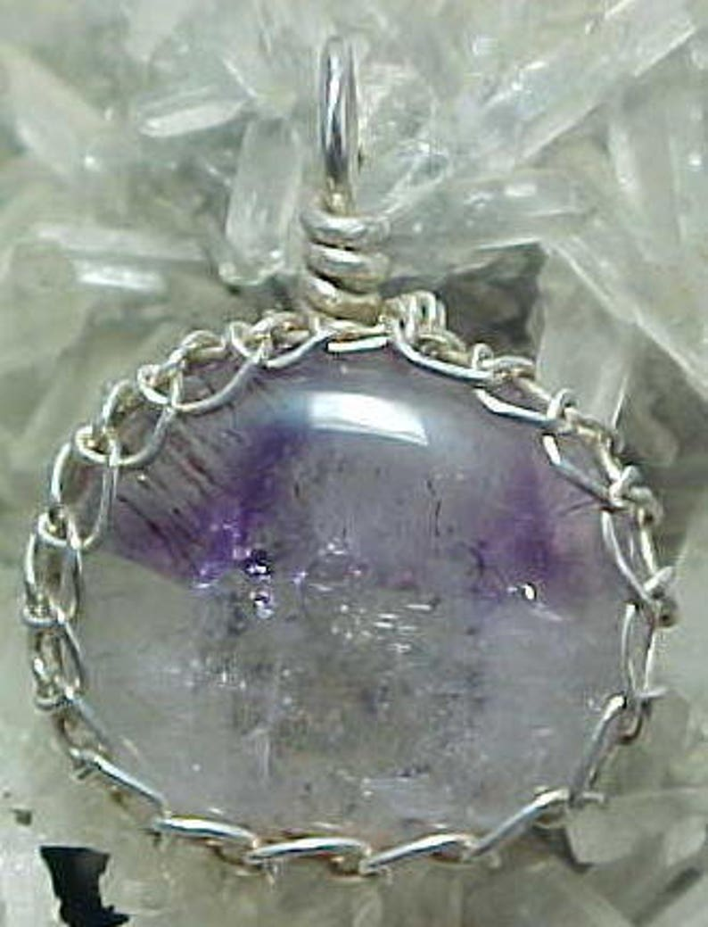 Sacred Seven Agape Crystal Lacy Silver Wire Art Pendant With image 0