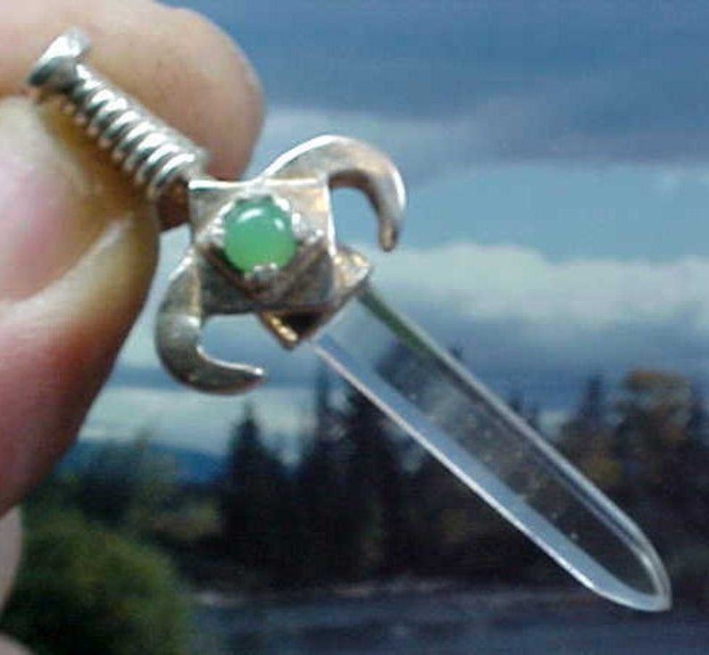 Clear Quartz Crystal and Chrysoprase Sterling Swords of Stone image 0