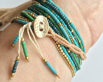 ADVENTURE Waxed Linen Bracelet with Glass and Brass Beads