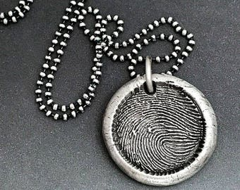 Reserved listing for Mayann - Fingerprint Charm Necklace in Fine Silver