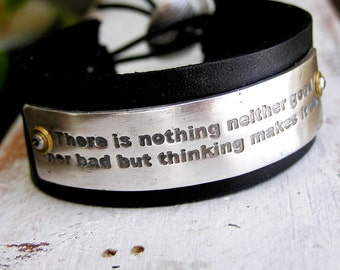 Your Loved One's Actual Handwriting as a Fine Silver and Leather Bracelet