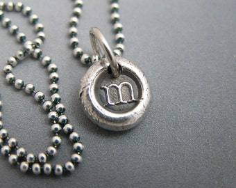 Itty Bitty Fine Silver Wax Seal Style Pendant with 2 initial charms - Custom Lowercase Initials of your choice WITHOUT chain