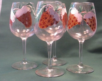 Pinecone Hand Painted Wine Glasses