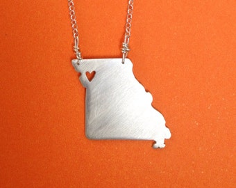 missouri sterling silver MO state necklace- on 16 or 18 inch sterling chain- custom made
