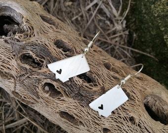 Montana sterling silver MT state earrings- custom made