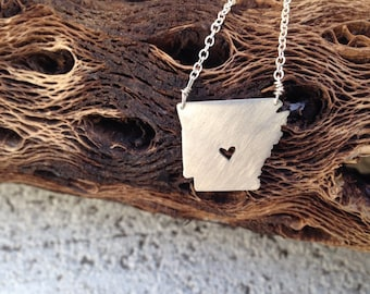 sterling silver Arkansas state necklace- on 16 or 18 inch sterling chain- custom made