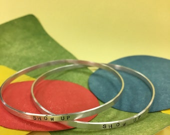 Sterling silver quote bracelet- bangle