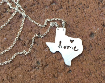 sterling silver Texas state necklace- on 16 or 18 inch sterling chain- custom made-with home cutout