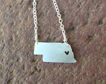 sterling silver Nebraska state necklace- on 16 or 18 inch sterling chain- custom madenecklace